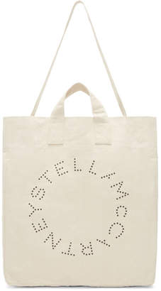 Stella McCartney Ecru Round Logo Beach Tote