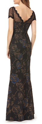 JS Collections Boat-Neck Short-Sleeve Floral Matelasse Illusion Gown w/ Eyelash Trim