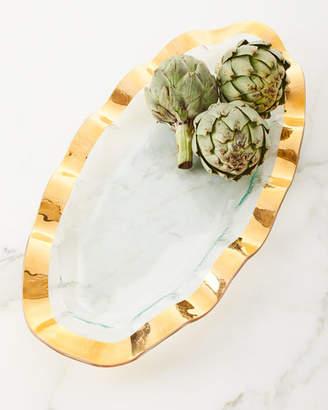 Annieglass Large Oval Ruffle-Trim Platter