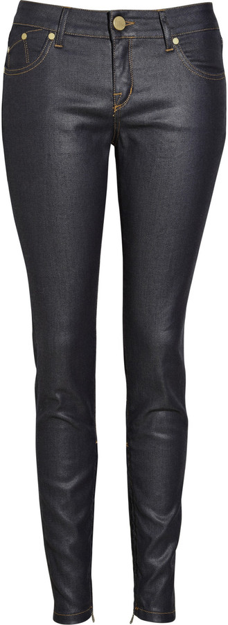 Victoria Beckham Denim Waxed low-rise skinny jeans