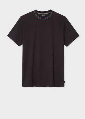 Paul Smith Men's Black Organic-Cotton T-Shirt With 'Cycle Stripe' Collar