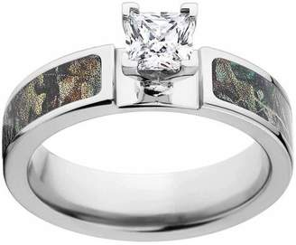 Realtree RealTree Timber Women's Camo Engagement Ring Cobalt and 14kt White Gold with Polished Edges and Deluxe Comfort Fit