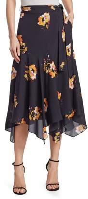 A.L.C. Borden Floral Silk Midi Skirt