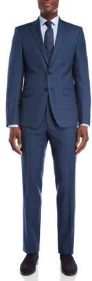 Calvin Klein Two-Piece Navy Windowpane Slim Fit Suit