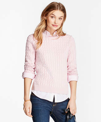 Brooks Brothers Cable-Knit Cotton-Cashmere Sweater