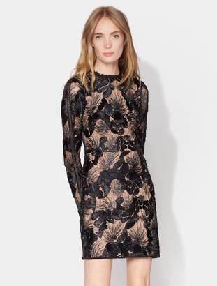 Halston Mock Neck Embroidered Lace Dress