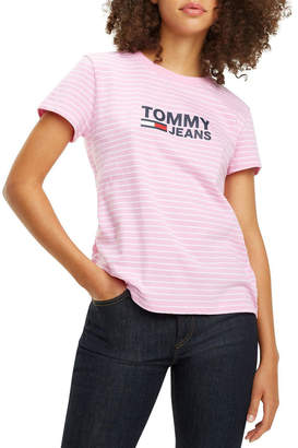 Tommy Jeans Women's Striped Chest Graphic Tee