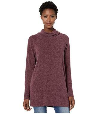 Mod-o-doc Luxe Heathered Sweater Cowl Neck Raglan Sleeve Tunic