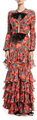 Johanna Ortiz Libro De Esther Bow-Front Long-Sleeve Floral-Print Silk Dress with Flamingo Hem