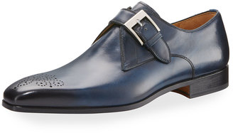 Magnanni for Neiman Marcus Hand-Antiqued Leather Buckled Oxford, Blue $350 thestylecure.com