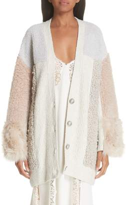 Stella McCartney Faux Fur Panel Cardigan