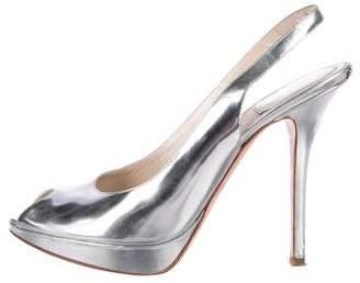 Christian Dior Patent Leather Peep-Toe Slingback Sandals