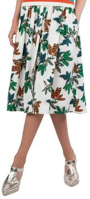 Akris Punto Tropical-Leaves Pleated Printed Midi Skirt