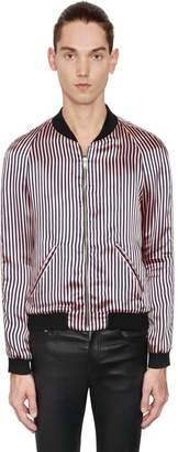 Striped Viscose Satin Bomber Jacket