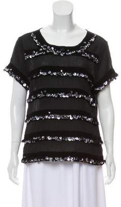 Gryphon Embellished Scoop Neck Top