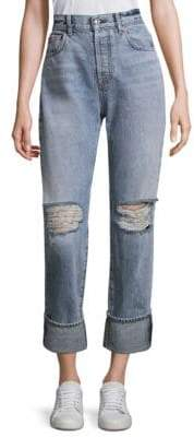 7 For All Mankind Rickie Cropped Wide-Cuff Distressed Jeans