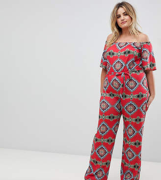 Bardot Pink Clove jumpsuit in tile print