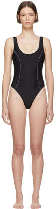 Versace Underwear Black Logo Ribbon One-Piece Swimsuit