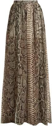 Elie Saab Python print chiffon maxi skirt