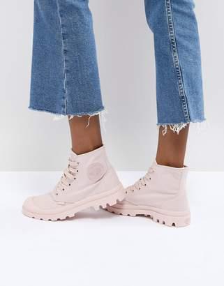 Palladium Pampa Monochrome Pink Textile Flat Ankle Boots