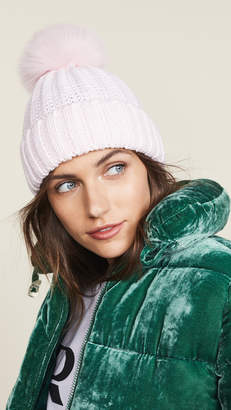 Adrienne Landau Knit Hat with Fur Pom