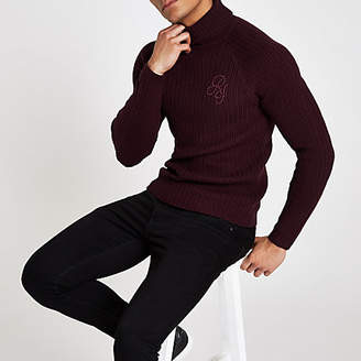 River Island Dark red muscle fit rib roll neck sweater