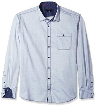 Bugatchi Men's Long Sleeve Shaped Fit Chambray Cotton Button Down Shirt