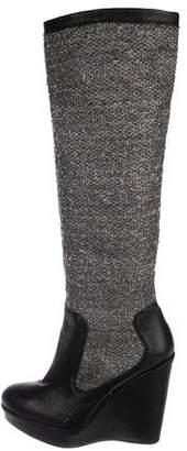 Stuart Weitzman Tweed Platform Knee-High Boots