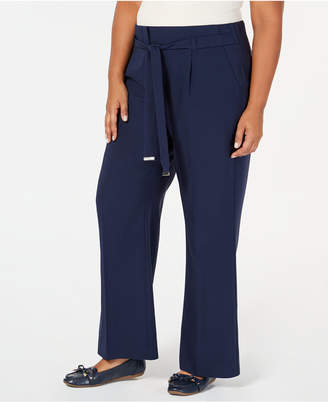 0ac14e2ff5d5a JM Collection Plus Size Tie-Front Wide-Leg Pants