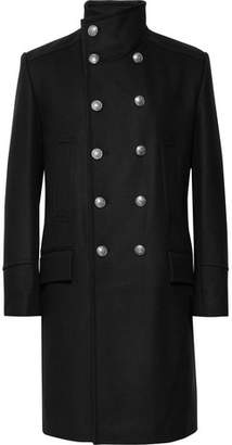 Balmain Wool and Cashmere-Blend Coat - Black