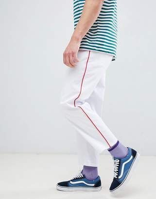 Asos Design DESIGN skater cropped pants in white with red side piping