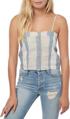 O'Neill Juliana Cotton & Linen Stripe Crop Tank Top