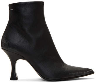 MM6 MAISON MARGIELA Black Distressed Pointed Toe Boots