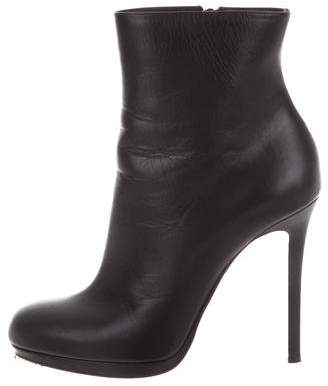 Christian Louboutin Leather Round-Tie Ankle Boots