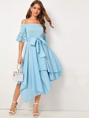 Shein Laser Cut Asymmetrical Hem Bardot Belted Dress