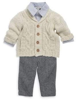 Baby Boy's Three-Piece Stripe Shirt, Quilted Sweater & Pants Set