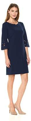 Sangria Women's Shift Dress with Laser Cut Detail