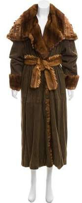 Fendi Mink-Trimmed Suede Coat