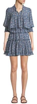 MISA Los Angeles Cereen Floral Ruffle Popover Short Dress