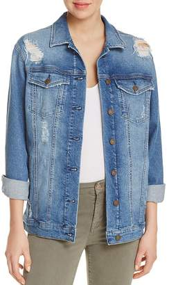 Mavi Jill Denim Jacket in Mid Ripped Retro $128 thestylecure.com