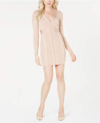 GUESS Mirage Zip-Front Bandage Dress