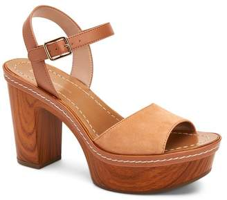 BCBGeneration Zina Suede Wood Block Heel Platform Sandals