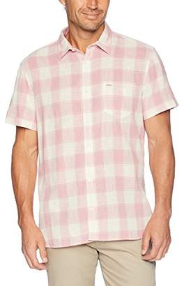 Calvin Klein Men's Short Sleeve Button Down Shirt Check Gauze