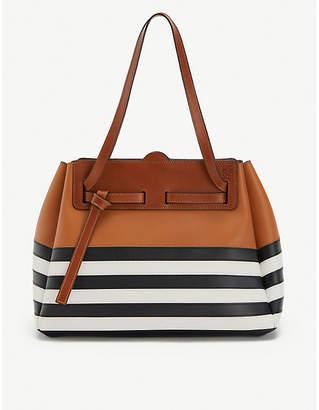 Loewe Lazo striped leather shopper tote