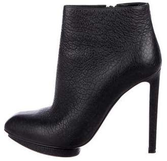 Alexander McQueen Leather Square-Toe Booties