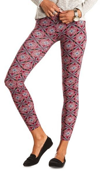Charlotte Russe Cotton Scarf Printed Leggings