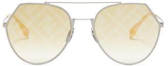 Fendi Ff Aviator Metal Sunglasses - Womens - Yellow