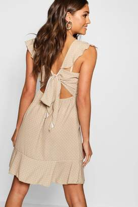 boohoo Polka Dot Ruffle Tie Back Skater Dress