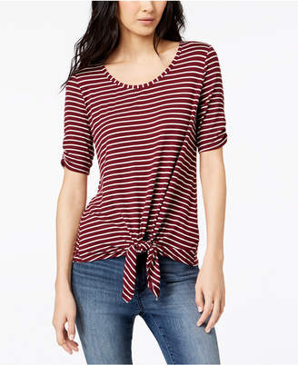 Maison Jules Striped Tie-Front Top