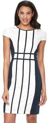 Ronni Nicole Women's Grid Colorblock Sheath Dress